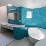 Blue tiled bathroom for children, Foxlin Architects