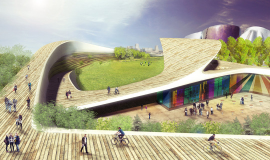 Cycle Hill Seattle revitalize the cultural campus, engage participation from the larger urban community, encourage sustainable building practices and change attitudes towards healthy lifestyles, Foxlin Architects