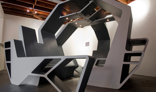 Interlace is an architectural furniture environment designed to accommodate a variety of social scenarios, Foxlin Architects