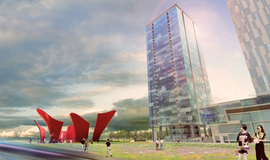 encourage the directional flow of pedestrians at Vanke City through Plaza Art, main street to mall, Foxlin Architects